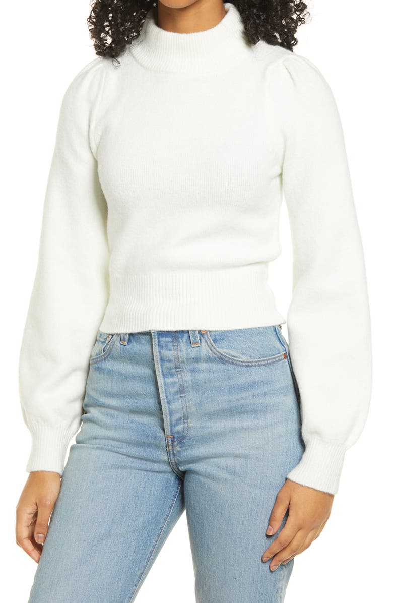 LULUS Piece of My Heart Mock Neck Sweater, Main, color, WHITE