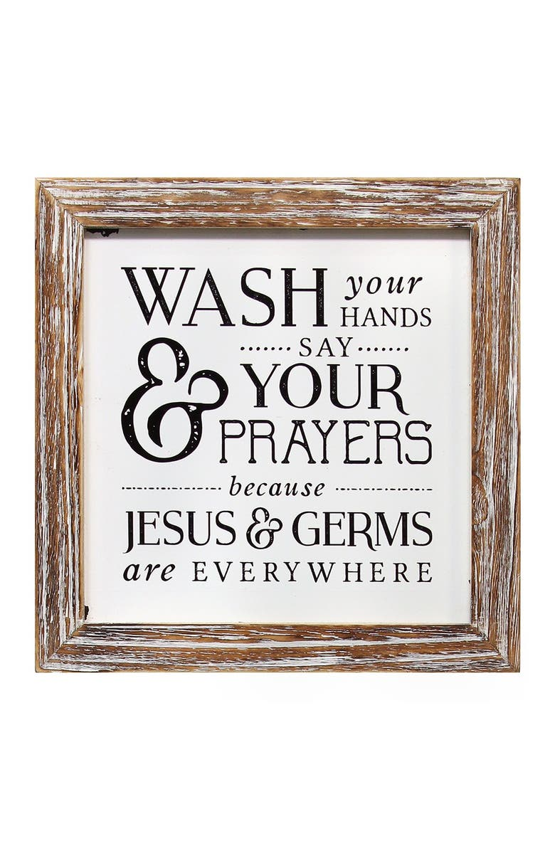 STRATTON HOME DECOR Natural Wood/Black Wash Your Hands Say Your Prayers, Main, color, NATURAL WOOD/BLACK