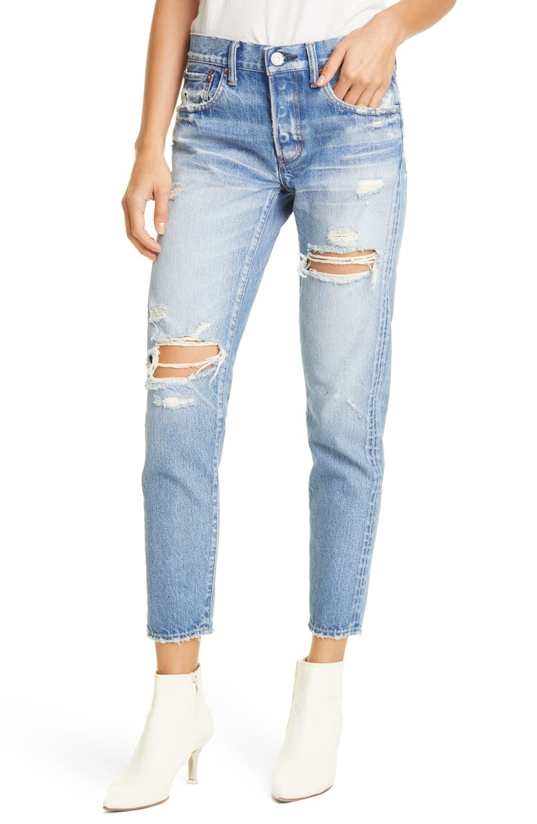 MOUSSY VINTAGE Bowie Ripped Tapered Jeans, Main, color, 400