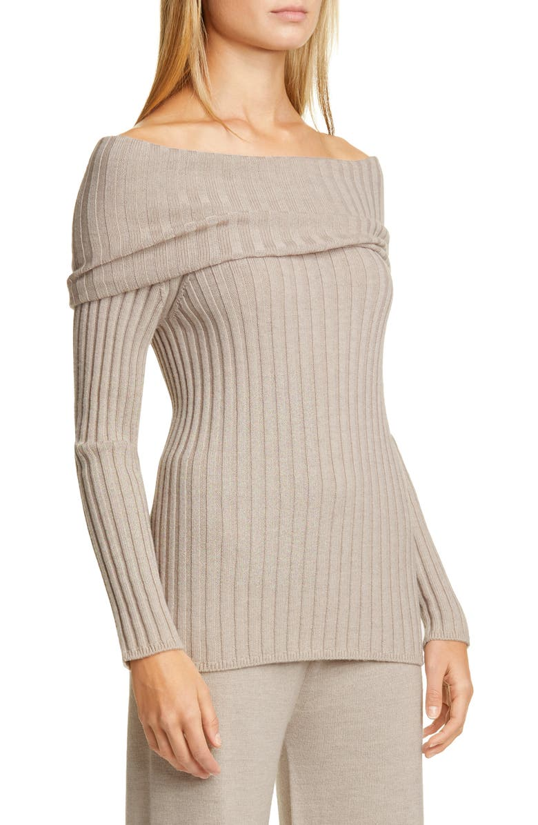 MAX MARA LEISURE Tosca Off the Shoulder Ribbed Virgin Wool Sweater, Main, color, 250