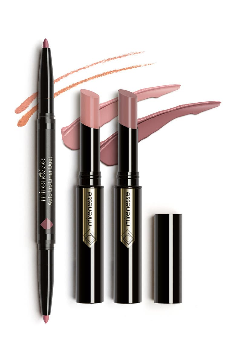 MIRENESSE Hot French Kiss 3-Piece Glossy Sheer Nude Lips & Liner Set, Main, color, NO COLOR
