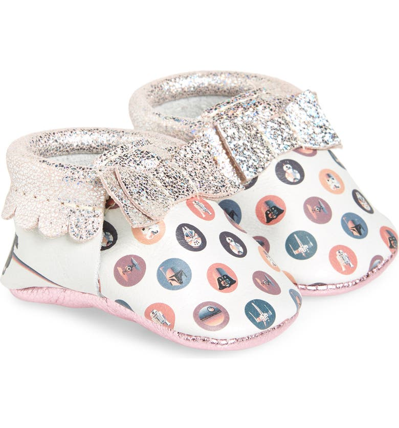 FRESHLY PICKED x Star Wars Cosmic Dot Metallic Bow Moccasin, Main, color, 100