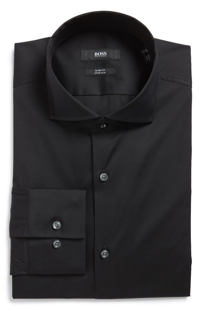 BOSS Jason Slim Fit Solid Cotton Blend Dress Shirt, Main, color, 001