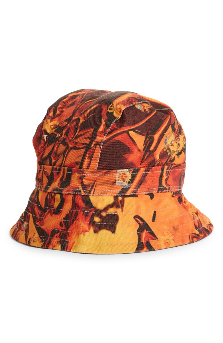 LIBERAL YOUTH MINISTRY Fire Print Denim Bucket Hat, Main, color, FIRE PRINT / ORANGE - YELLOW
