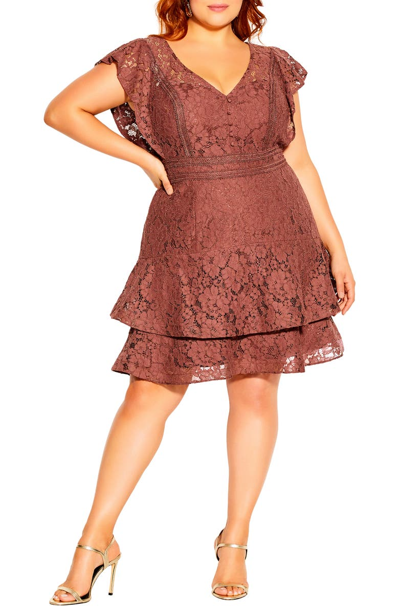 CITY CHIC Sienna Lace Fit & Flare Minidress, Main, color, MOCHA