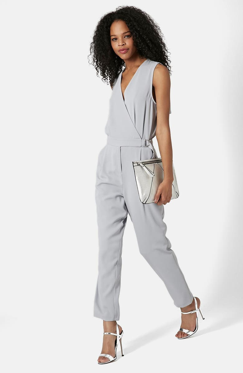 TOPSHOP Sleeveless Wrap Front Jumpsuit, Main, color, GREY
