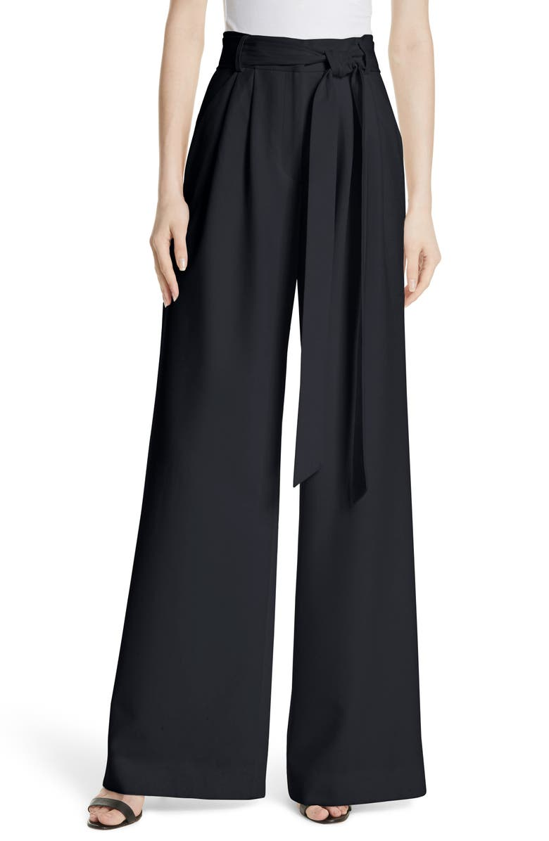 MILLY Italian Cady Trapunto Tie Waist Trousers, Main, color, 410