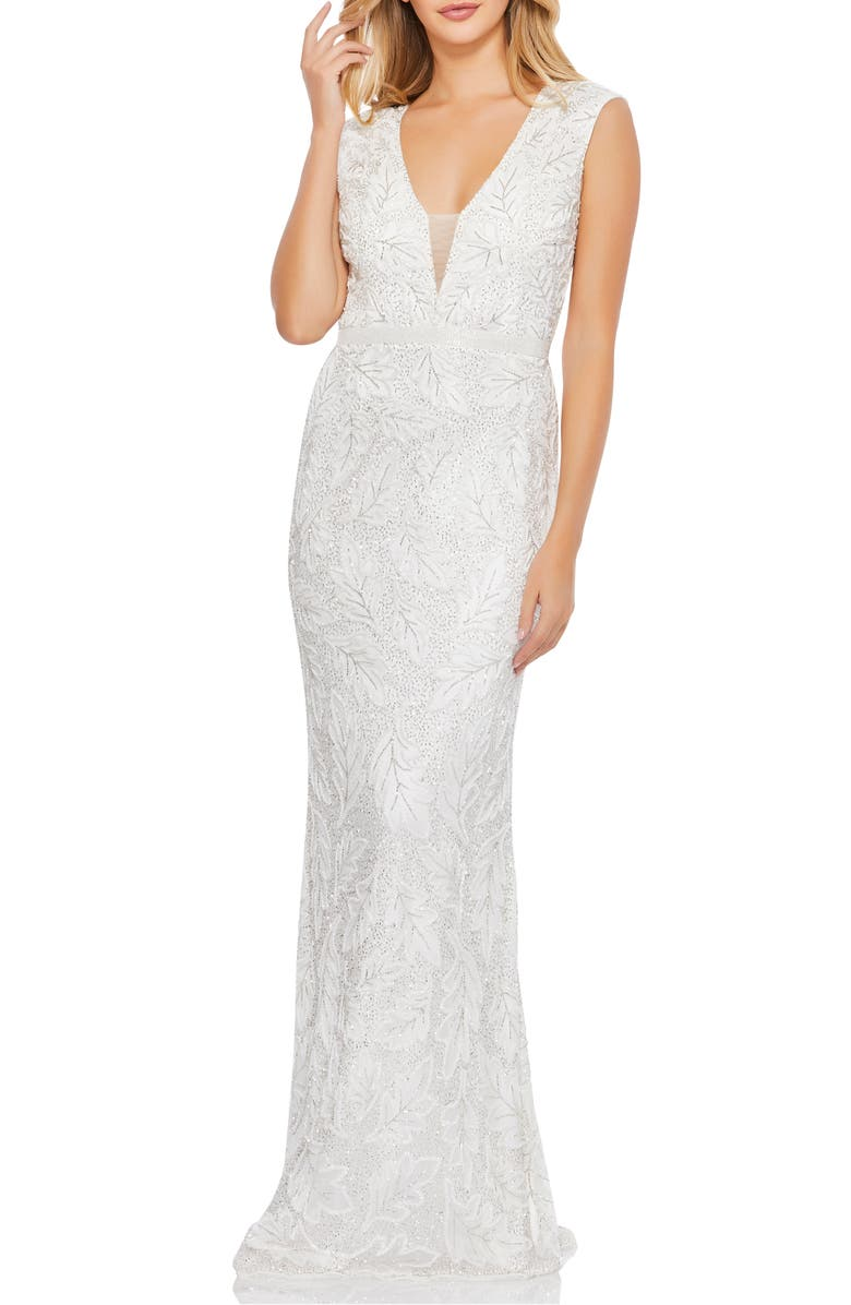 MAC DUGGAL Leaf Beaded Illusion Plunge Neck Gown, Main, color, WHITE