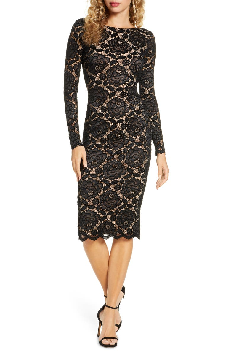 DRESS THE POPULATION Emery Long Sleeve Lace Cocktail Dress, Main, color, BLACK