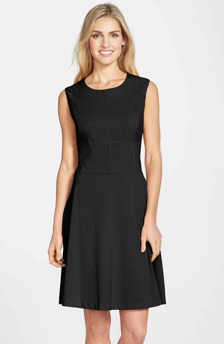 MARC NEW YORK by Andrew Marc Woven Fit & Flare Dress, Main, color, 001