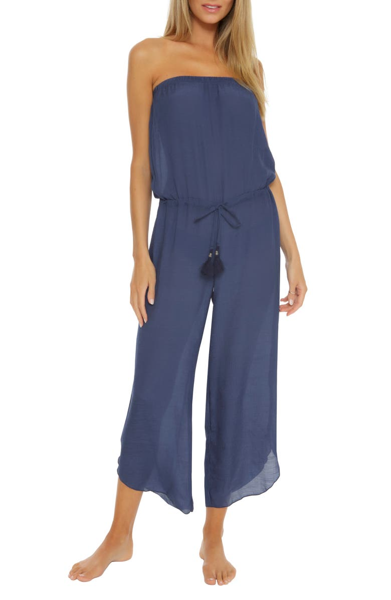 BECCA Strapless Cover-Up Jumpsuit, Main, color, MARINA
