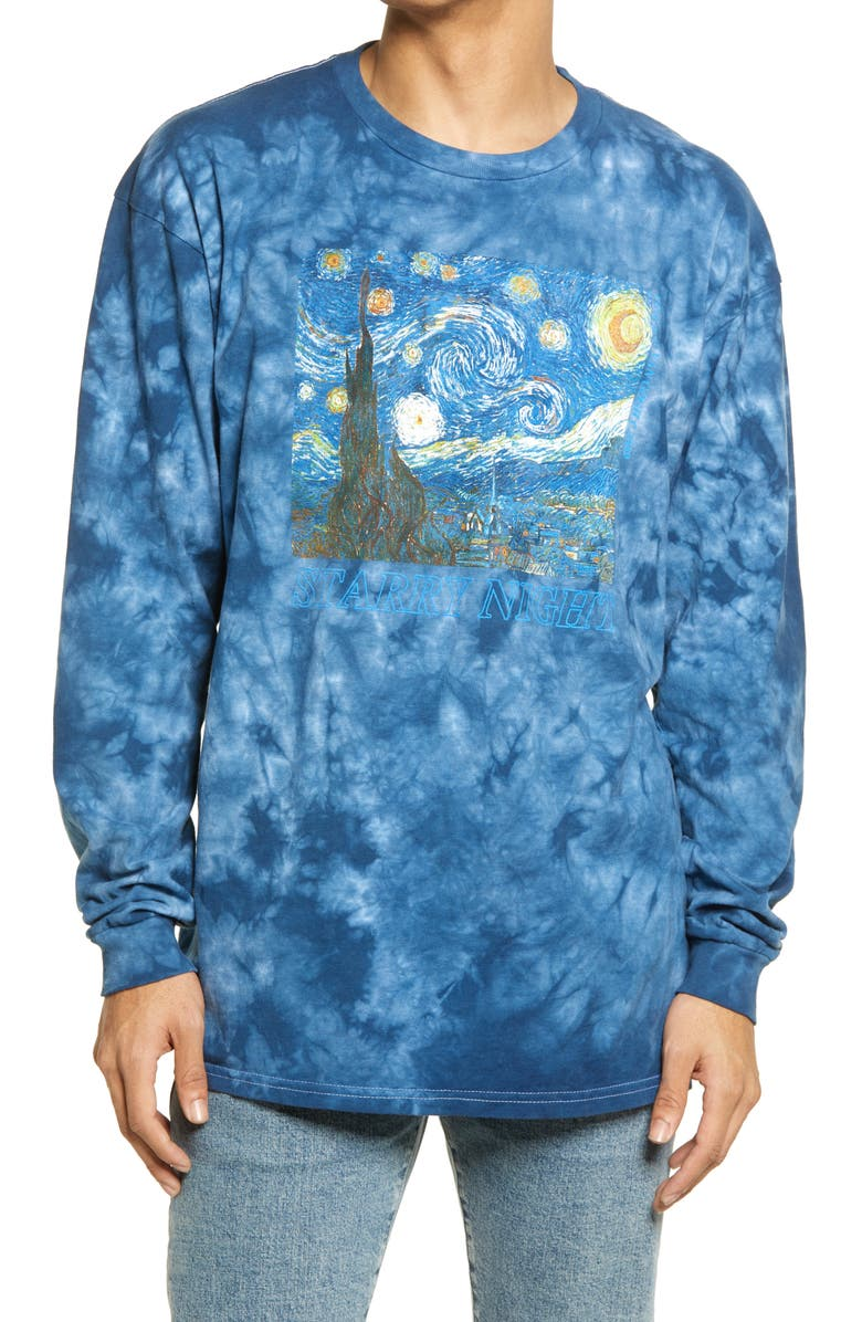 PHILCOS Starry Night Tie Dye Men's Long Sleeve Graphic Tee, Main, color, BLUE WASH