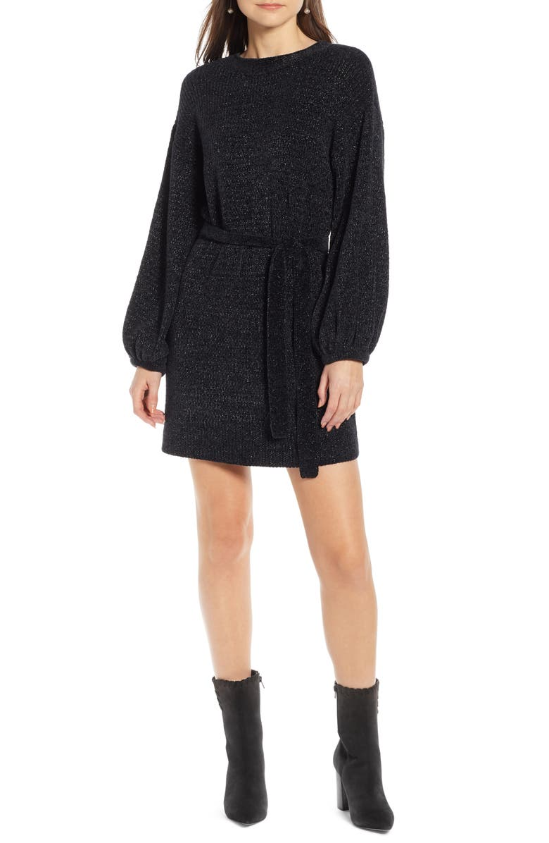SOMETHING NAVY Shimmer Sweater Dress, Main, color, 001