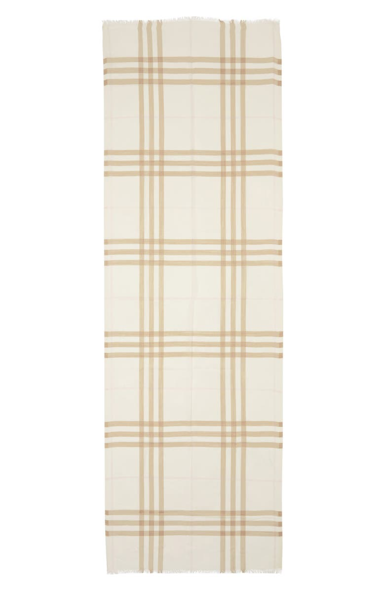 BURBERRY Check Wool & Silk Scarf, Main, color, WHITE/ ALABASTER
