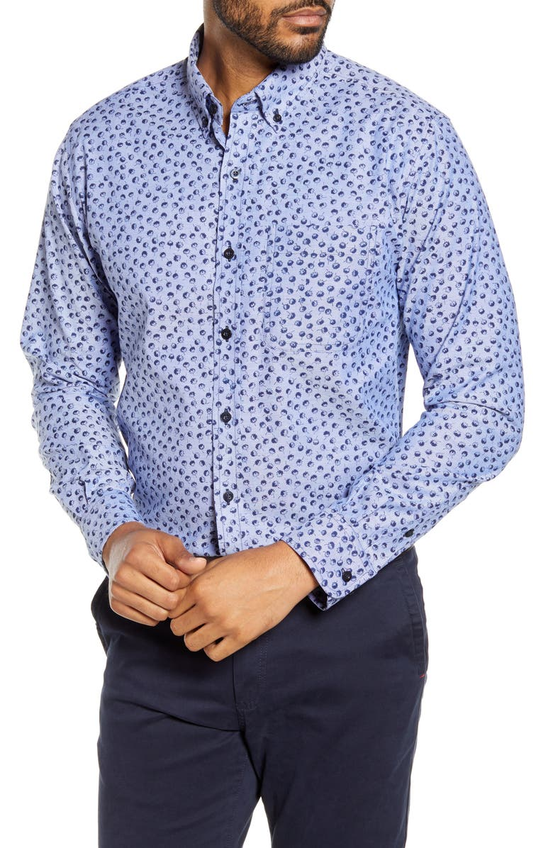 CUTTER & BUCK Anchor Classic Fit Tossed Print Button-Down Shirt, Main, color, INDIGO