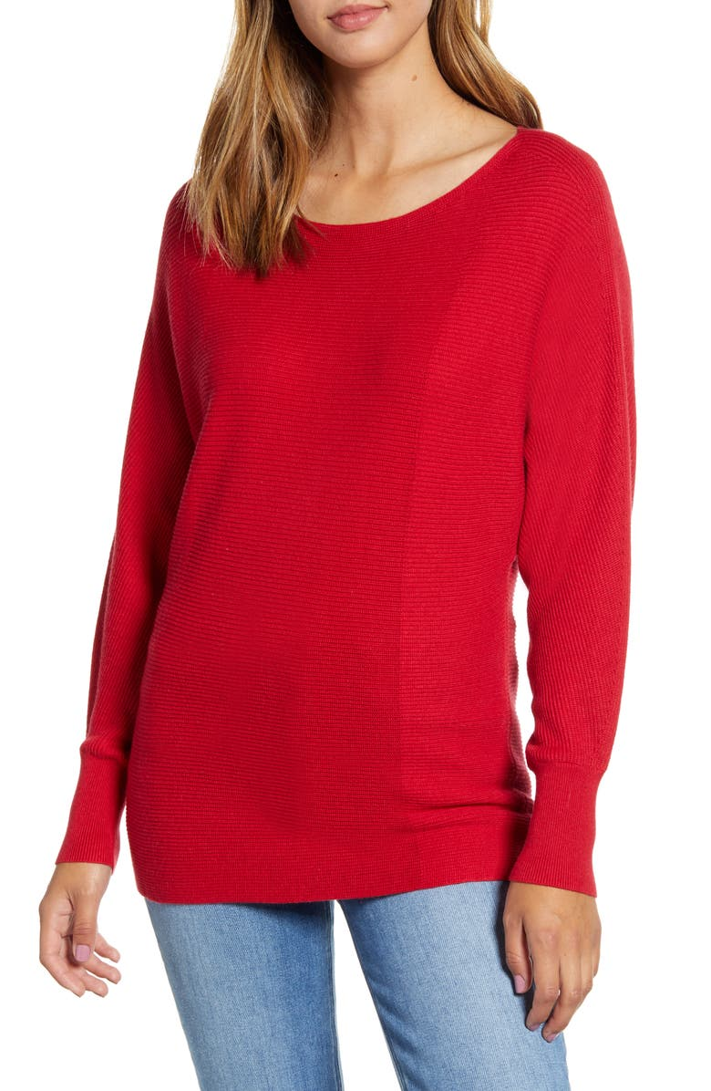 TOMMY BAHAMA Bonita Boatneck Ribbed Cotton Blend Sweater, Main, color, JESTER RED