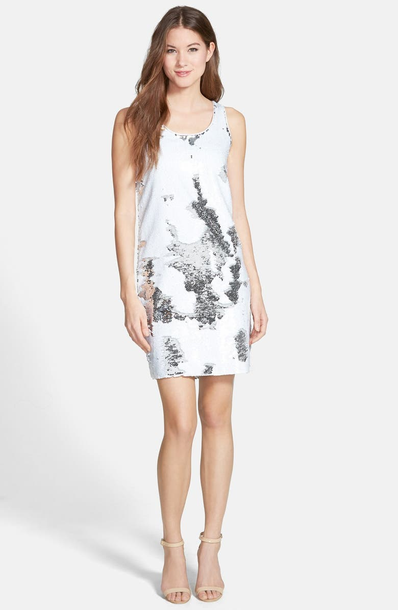 VINCE CAMUTO Sleeveless Sequin Shift Dress, Main, color, ULTRA WHITE