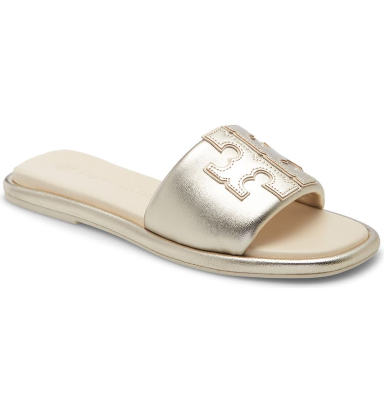 TORY BURCH Double T Sport Slide Sandal, Main, color, SPARK GOLD / NEW CREAM / GOLD