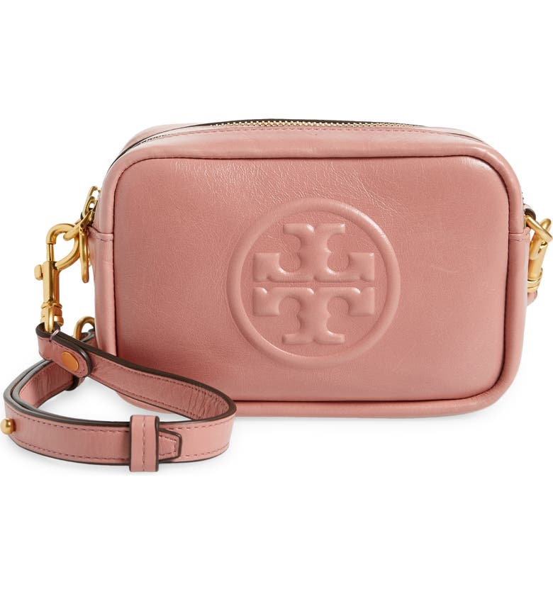 TORY BURCH Perry Bombe Glazed Leather Crossbody Bag, Main, color, PINK MAGNOLIA