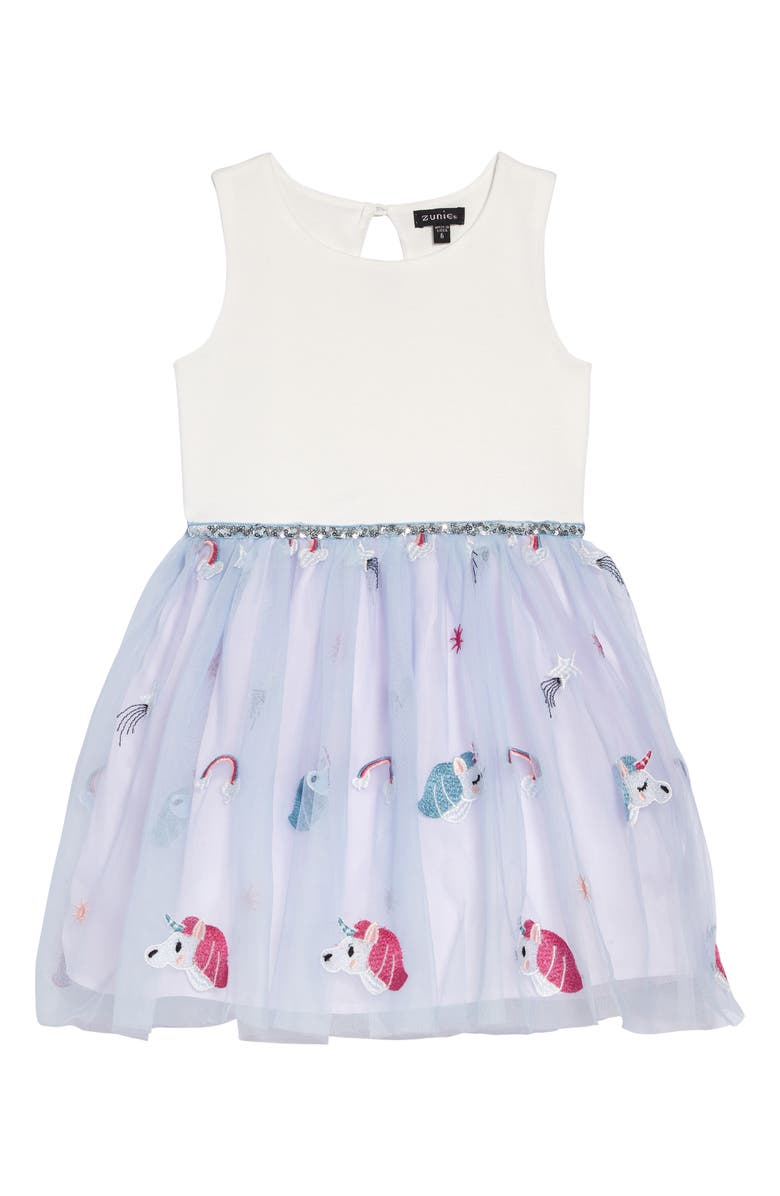 ZUNIE Unicorn Tulle & Ponte Fit & Flare Dress, Main, color, IVORY