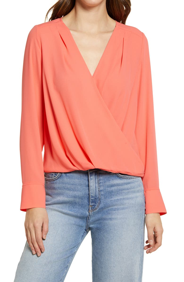 HALOGEN<SUP>®</SUP> Cross Front Blouse, Main, color, CORAL GLOW