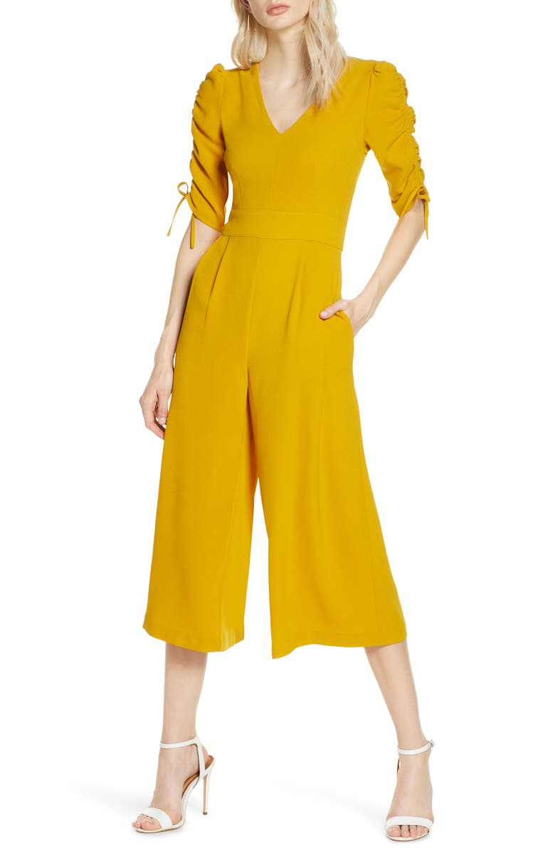 CHELSEA28 Ruched Sleeve Crop Wide Leg Jumpsuit, Main, color, YELLOW MUSTARD