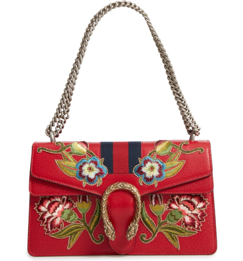 GUCCI Dionysus Embroidered Leather Shoulder Bag, Main, color, HIBISCUS RED/MULTI