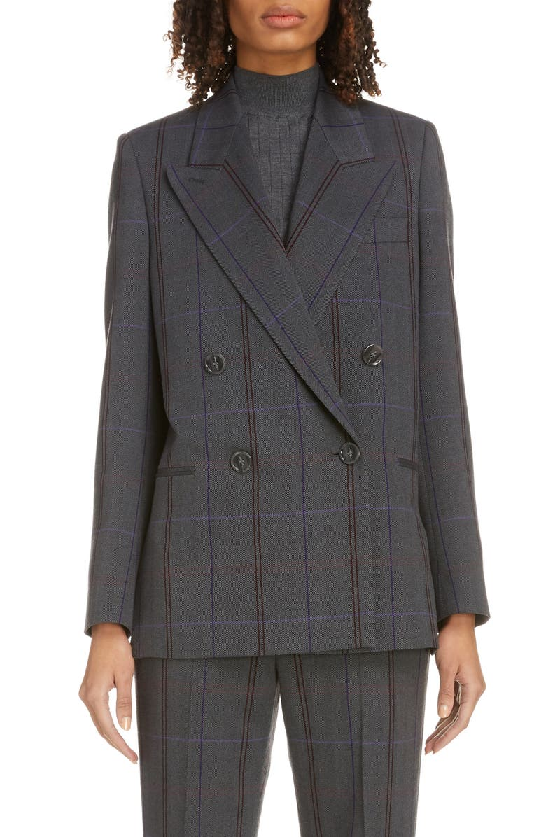 ACNE STUDIOS Plaid Double Breasted Wool Blend Blazer, Main, color, 020