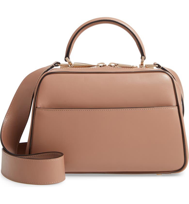 VALEXTRA Medium Serie Leather Top Handle Bag, Main, color, OYSTER