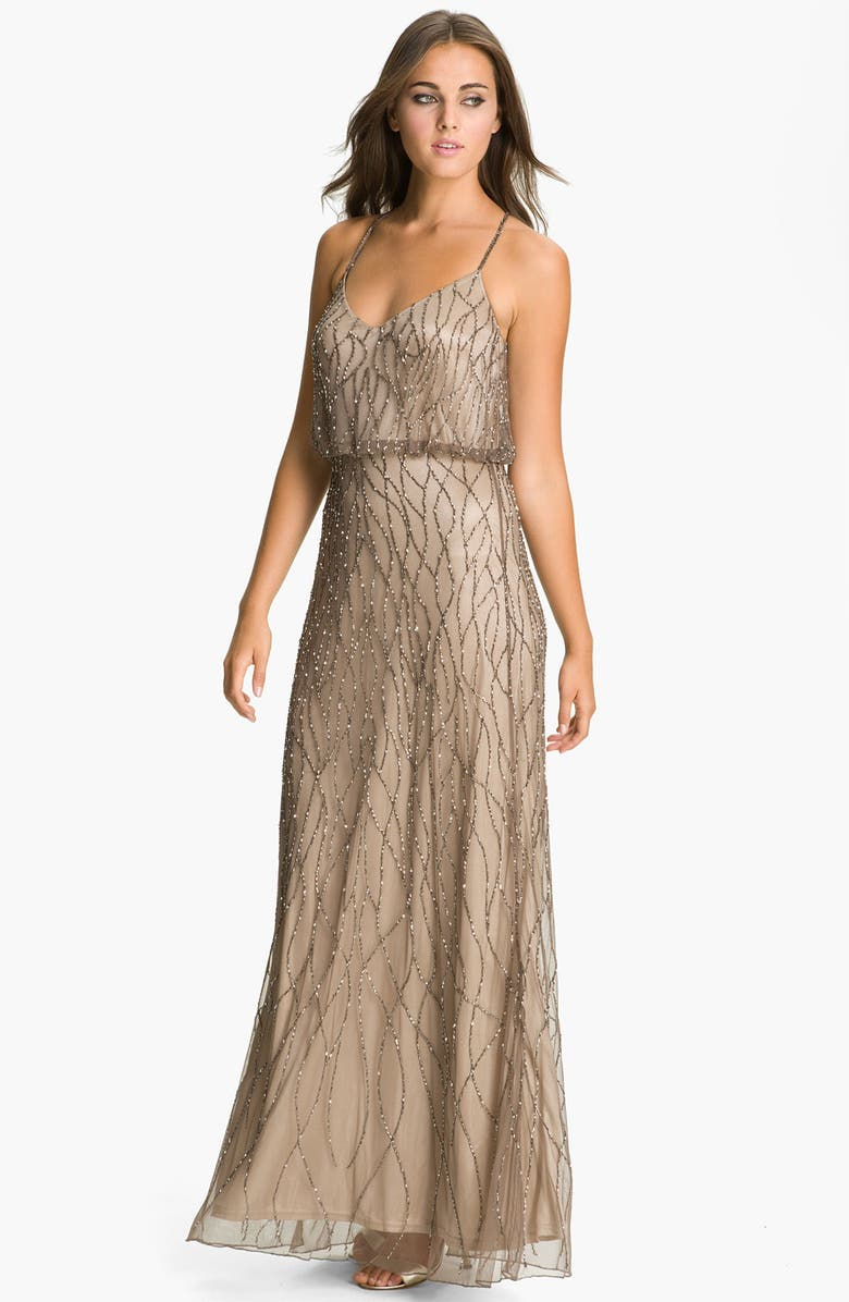 ADRIANNA PAPELL Beaded Mesh Blouson Gown, Main, color, 214