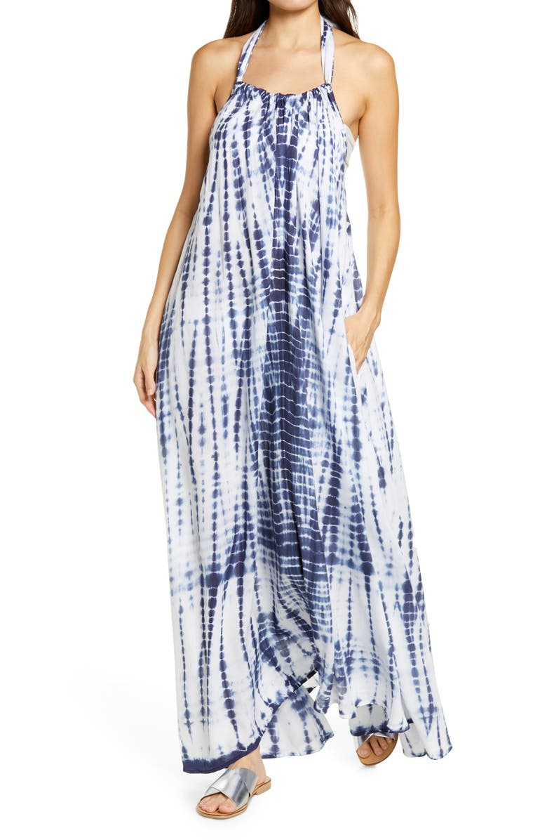 ELAN Cover-Up Maxi Dress, Main, color, NAVY/ AQUA TIE DYE