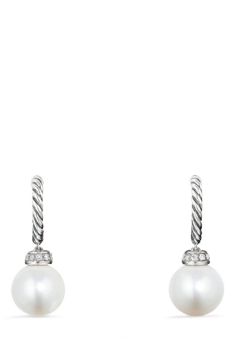 DAVID YURMAN Solari Hoop Earrings with Diamonds, Main, color, SILVER/ DIAMOND/ PEARL