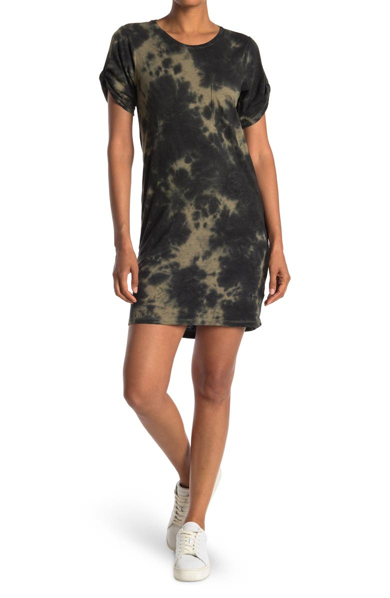 SANCTUARY So Twisted One Pocket Dress, Main, color, GREEN/BLACK TIE DYE