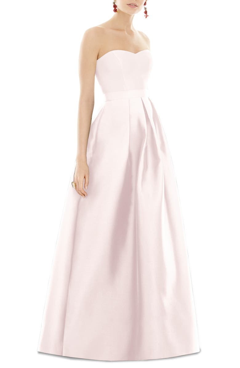 ALFRED SUNG Strapless Satin Twill A-Line Gown, Main, color, BLUSH