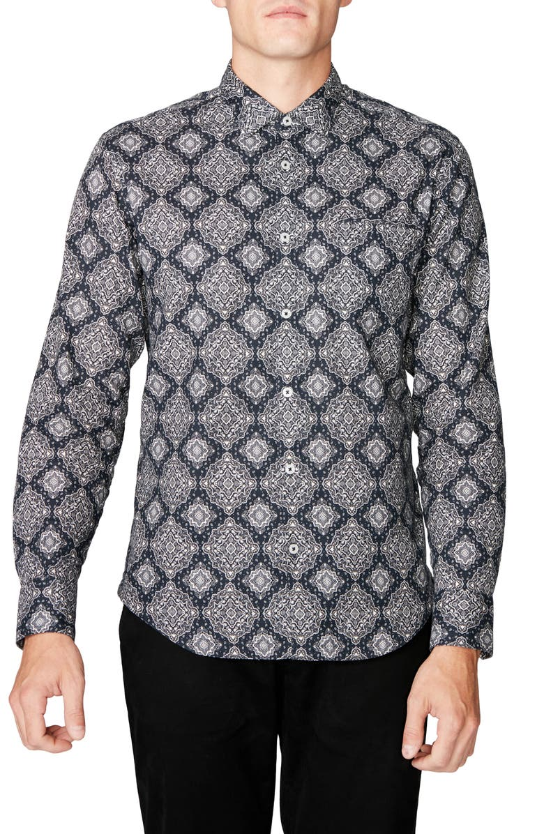 GOOD MAN BRAND On Point Slim Fit Button-Up Shirt, Main, color, BLACK MEDALLION PAISLEY