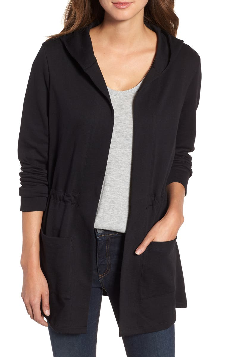 CASLON<SUP>®</SUP> Hooded French Terry Cardigan, Main, color, 001