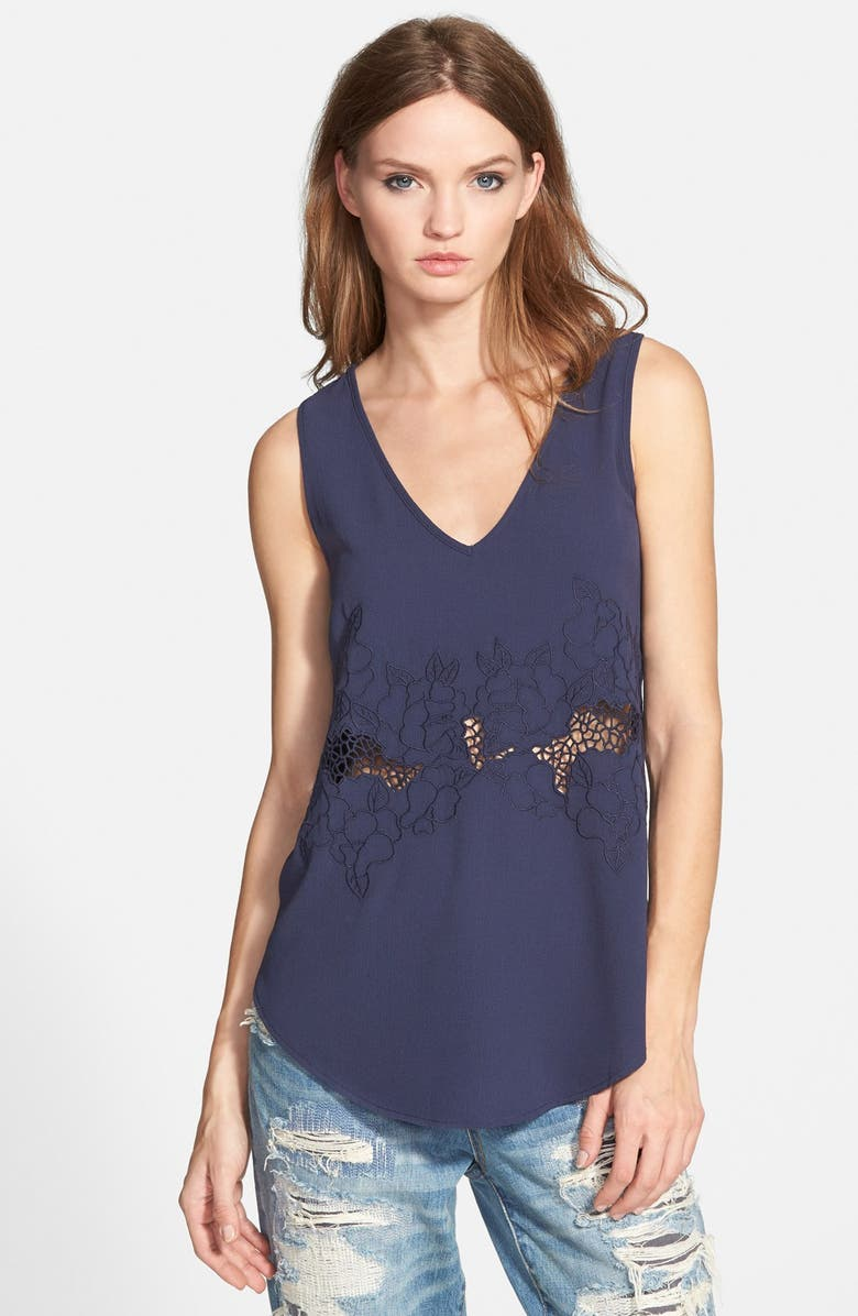 ASTR THE LABEL ASTR Embroidered Inset Tank, Main, color, NAVY