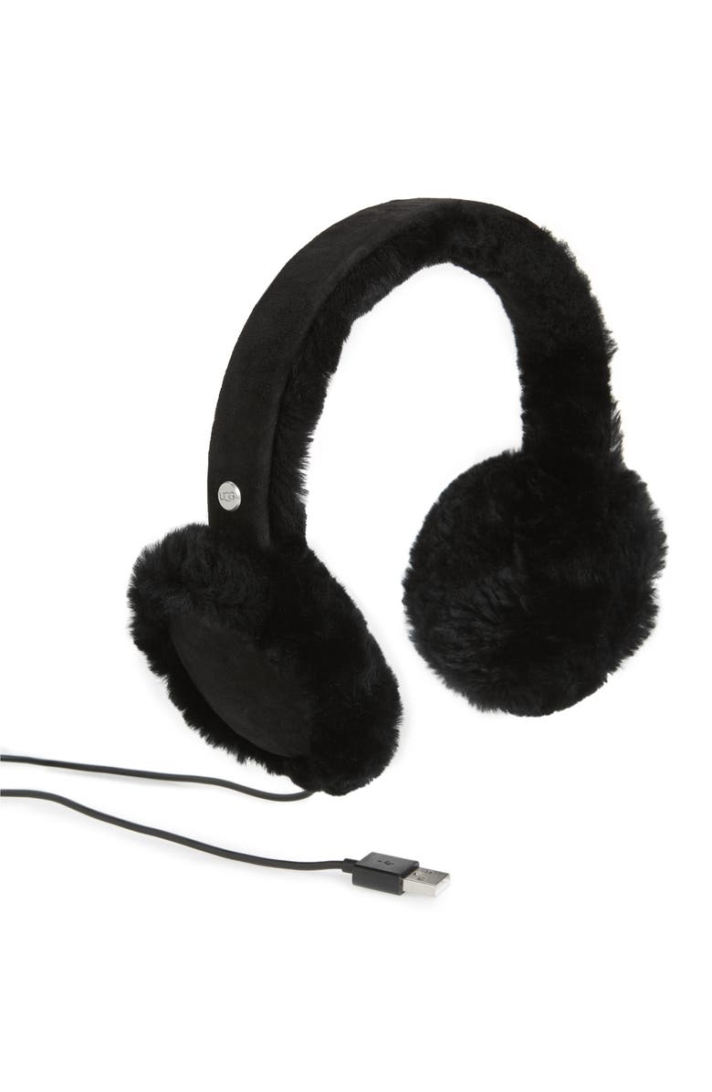 UGG<SUP>®</SUP> Collection Genuine Shearling Bluetooth<sup>®</sup> Earmuffs, Main, color, 001