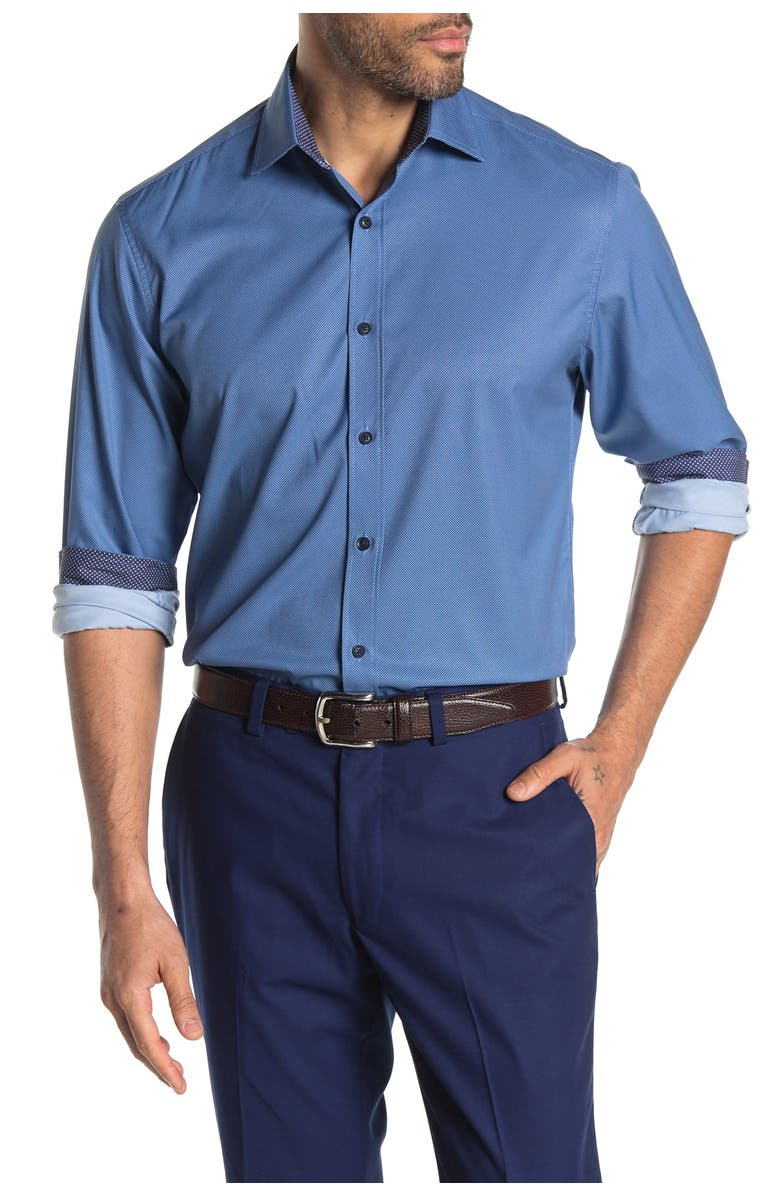 CONSTRUCT Solid Long Sleeve 4-Way Stretch Slim Fit Shirt, Main, color, NAVY