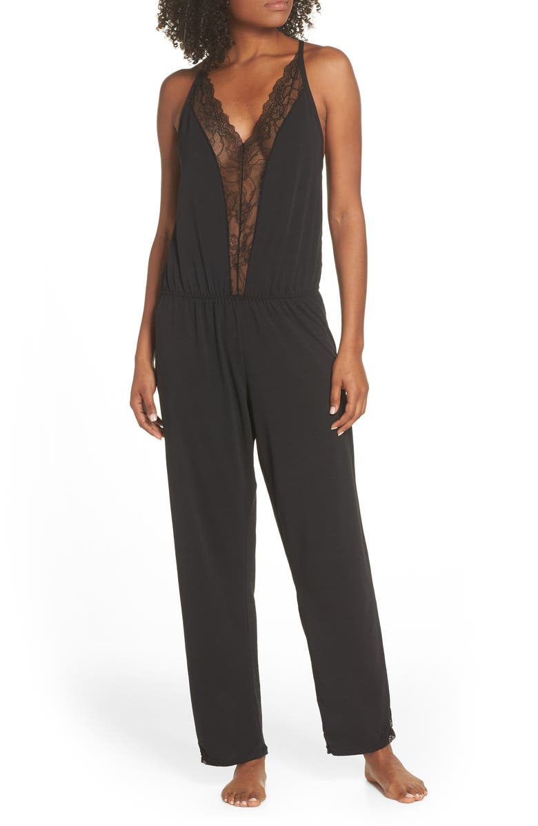 OH LA LA CHERI Lace Inset Jersey Jumpsuit, Main, color, 001