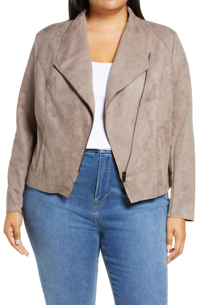 KUT FROM THE KLOTH Carina Faux Suede Drape Moto Jacket, Main, color, 250