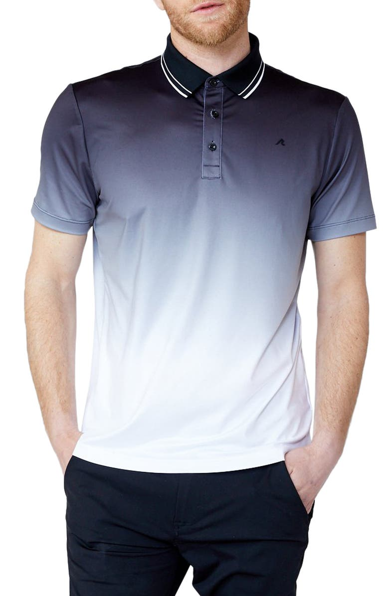 REDVANLY Haight Tipped Ombré Golf Polo, Main, color, BLACK