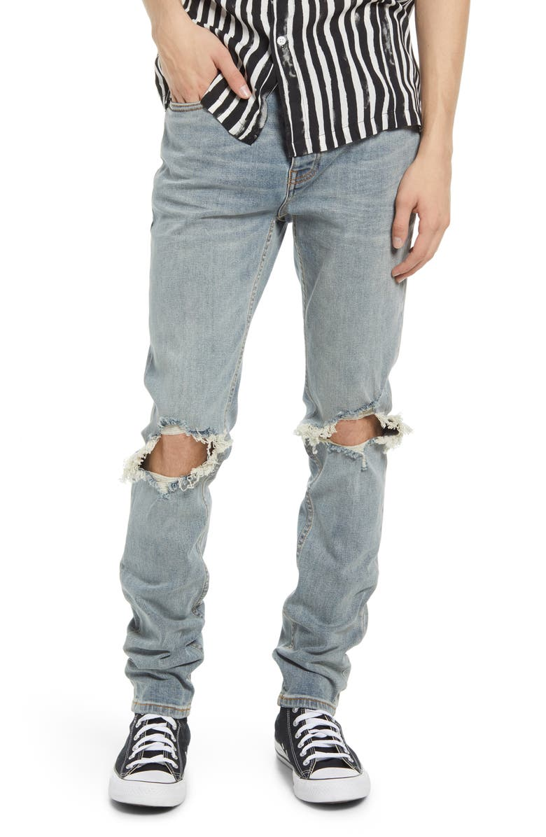 TOPMAN Polly Blowout Ripped Skinny Fit Jeans, Main, color, LIGHT BLUE