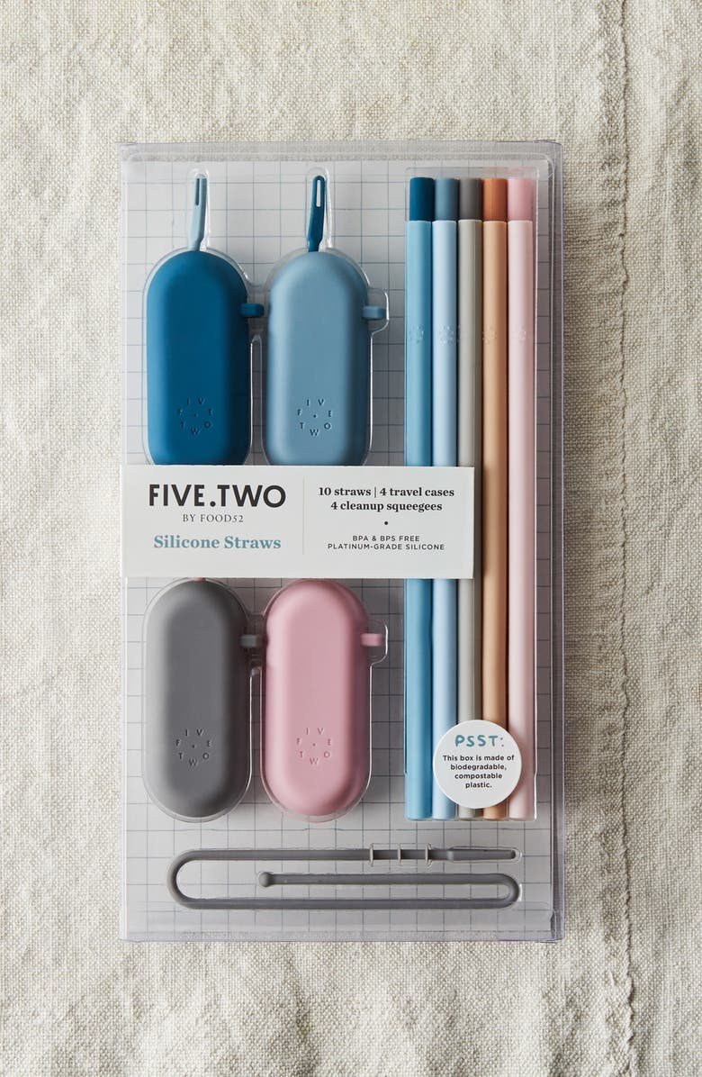 FIVE TWO BY FOOD52 Pack of 10 Silicone Straws & Travel Cases, Main, color, MULTI
