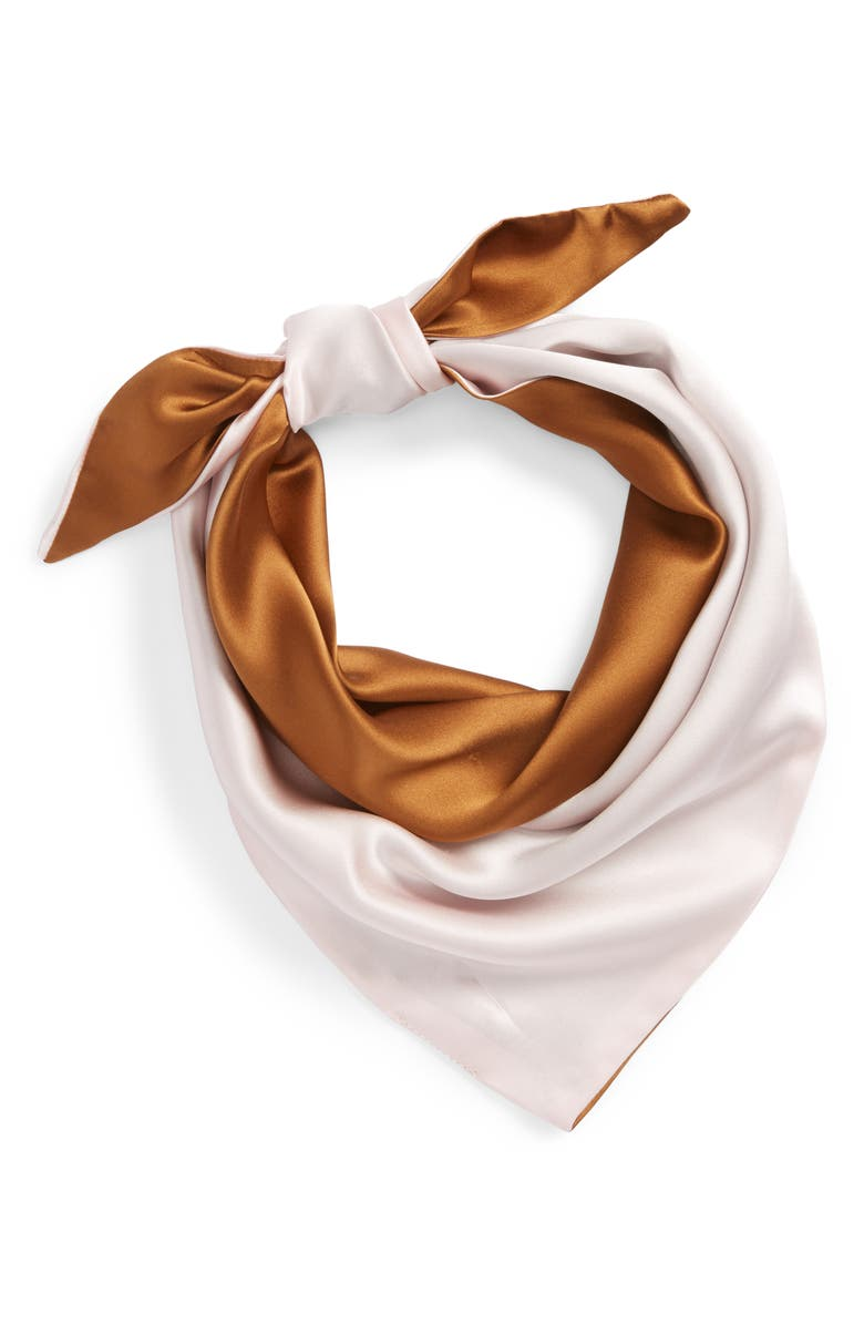DONNI Charm Darling Silk Scarf, Main, color, CAMEL/ PINK