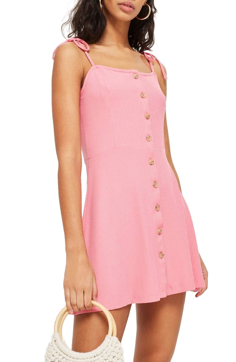 TOPSHOP Button Down Rib Minidress, Main, color, 650