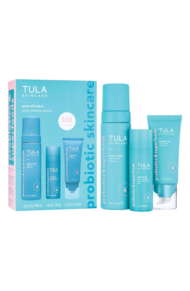 TULA SKINCARE Full Size Acne All-Stars Acne Clearing Routine Kit, Main, color, No Color