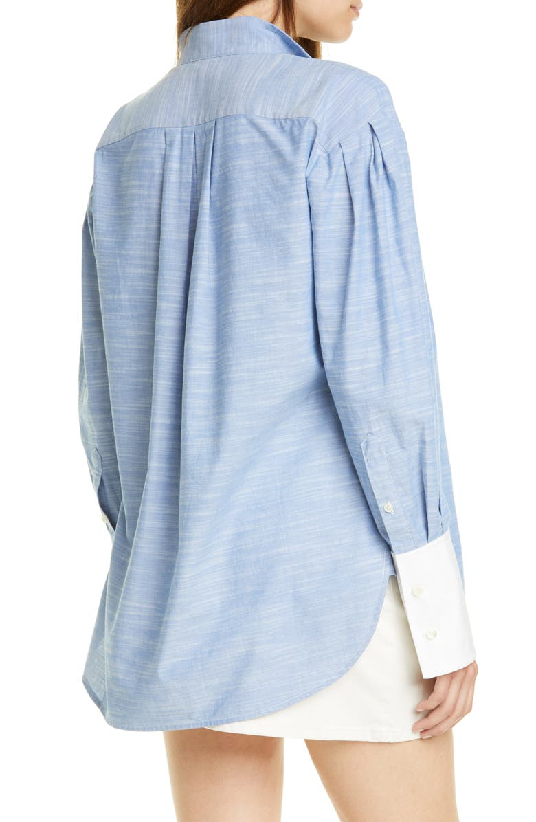 FRAME Pleated Contrast Cuff Shirt, Main, color, 401