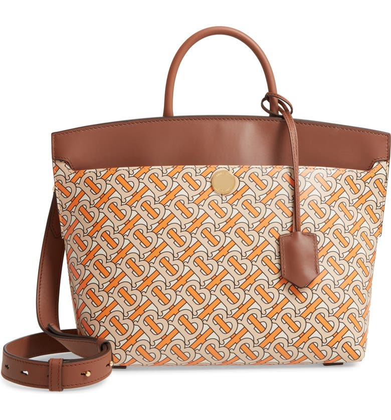 BURBERRY Small Society TB Print Leather Top Handle Bag, Main, color, 801