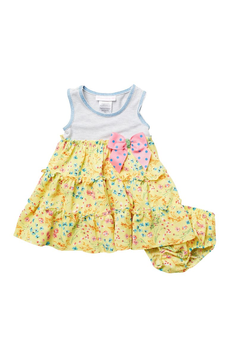 IRIS AND IVY Sleeveless Tiered Printed Dress 2-Piece Set, Main, color, YELLOW